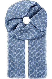 GUCCI Silk-linen patterned scarf