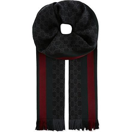 GUCCI Verbier stripe scarf (Black