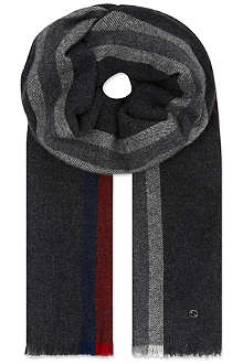 GUCCI Wool-cashmere striped scarf