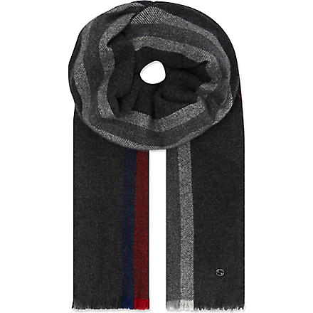 GUCCI Wool-cashmere striped scarf (Anthracite