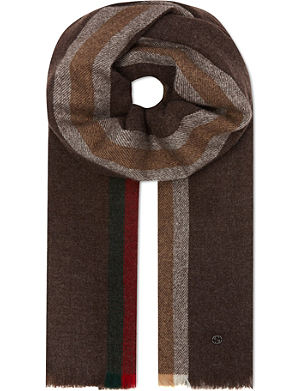 GUCCI Wool-cashmere striped scarf