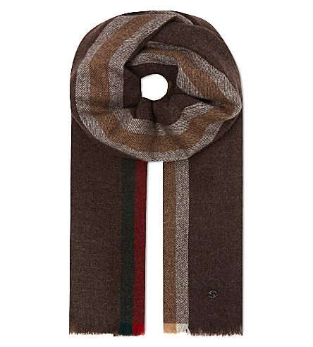 GUCCI Wool-cashmere striped scarf (Brown