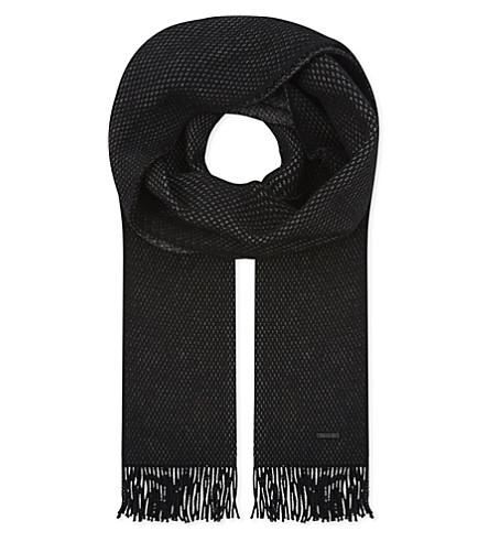 BOSS Albas virgin wool scarf (Black
