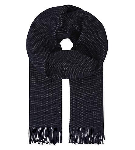 BOSS Albas virgin wool scarf (Navy