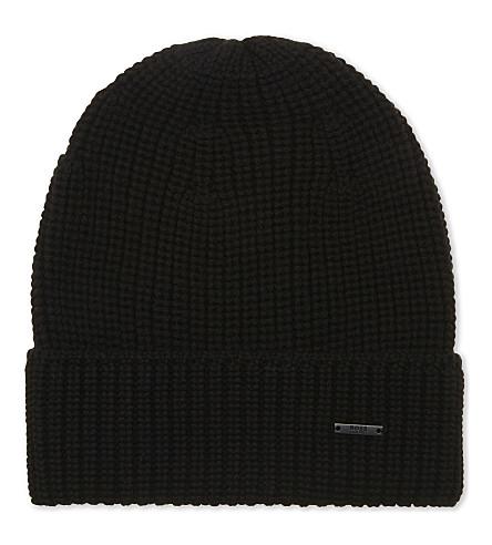 BOSS Febbo knitted wool beanie hat (Black