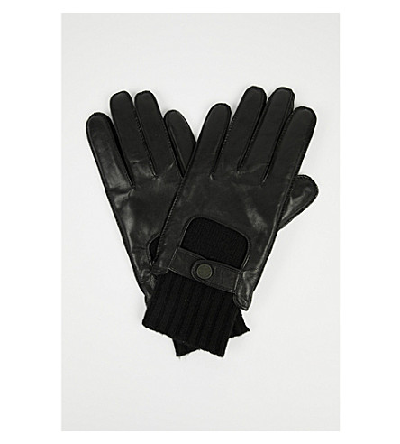 BOSS Herkan leather and knit gloves (Black