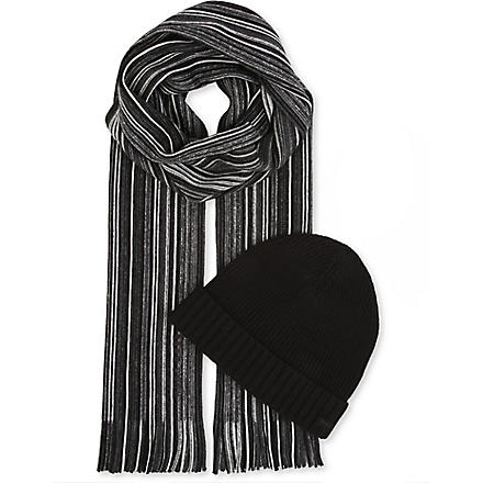 HUGO BOSS Fadi striped hat and scarf set (Black