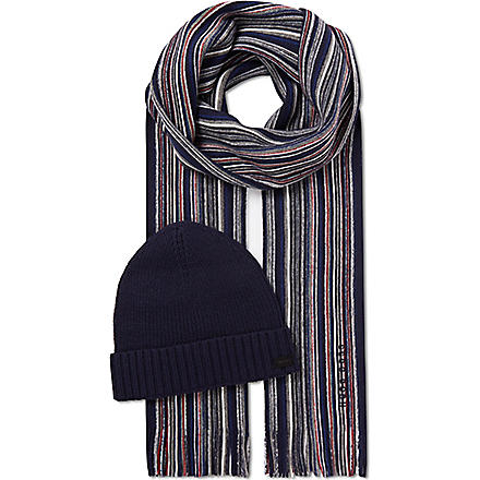 HUGO BOSS Fadi striped hat and scarf set (Navy