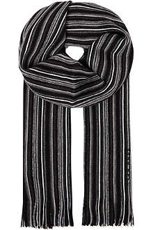HUGO BOSS Striped wool scarf