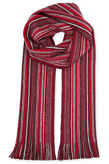 HUGO BOSS Striped wool scarf
