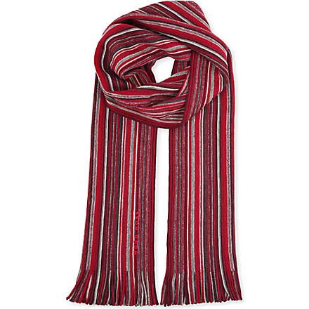 HUGO BOSS Striped wool scarf (Red