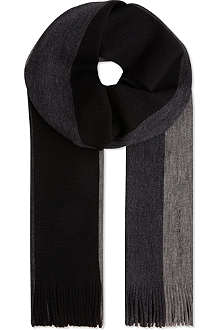 HUGO BOSS Black block stripe scarf