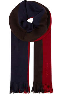 HUGO BOSS Block-stripe wool scarf
