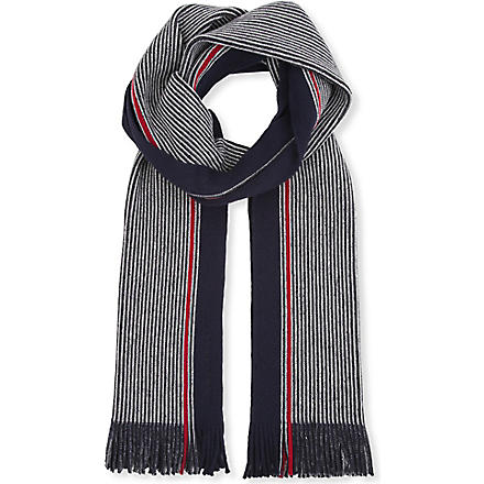 HUGO BOSS Contrast stripe scarf (Navy