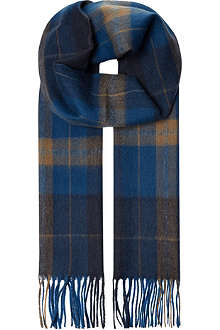 HUGO BOSS Haivon checked cashmere and wool-blend scarf