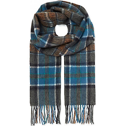 HUGO BOSS Check wool scarf (Blue