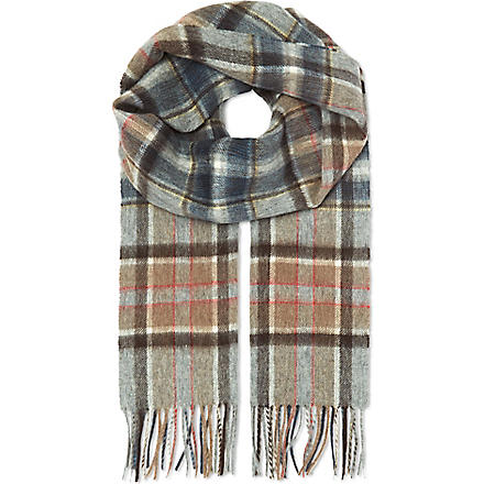 HUGO BOSS Check wool scarf (Brown