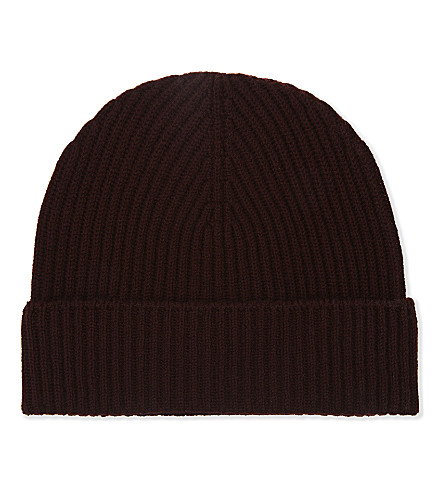 JOHNSTONS Plain ribbed cashmere beanie (Port