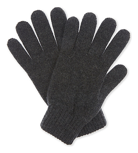 JOHNSTONS Plain cashmere gloves (Charcoal