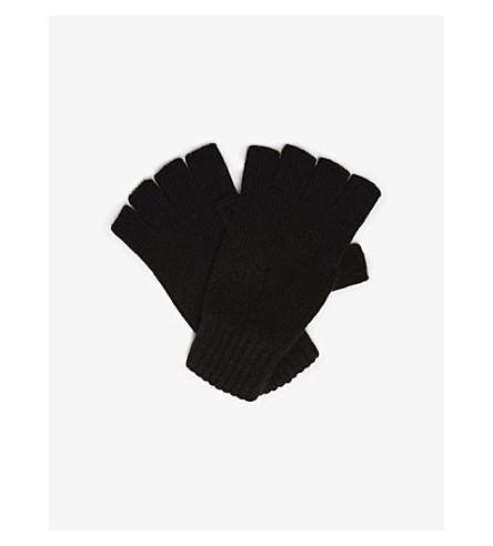 JOHNSTONS Plain cashmere fingerless gloves (Black