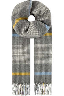 JOHNSTONS Checked cashmere scarf
