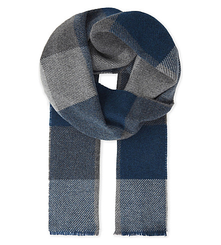 JOHNSTONS Herringbone cashmere scarf (Block check