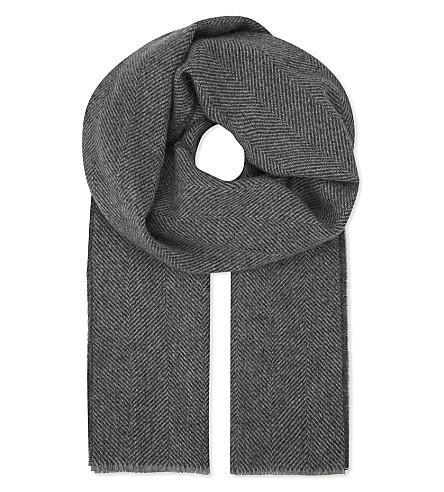 JOHNSTONS Herringbone cashmere scarf (Herringbone