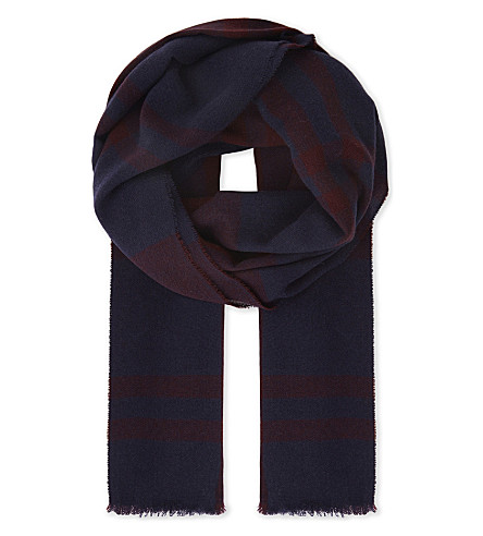 JOHNSTONS Check cashmere scarf (Navy port