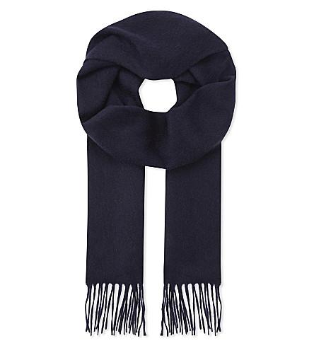 JOHNSTONS Tartan cashmere scarf (Navy