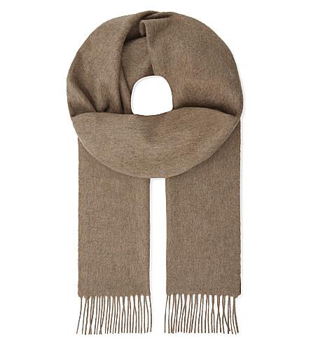 JOHNSTONS Tartan cashmere scarf (Otter