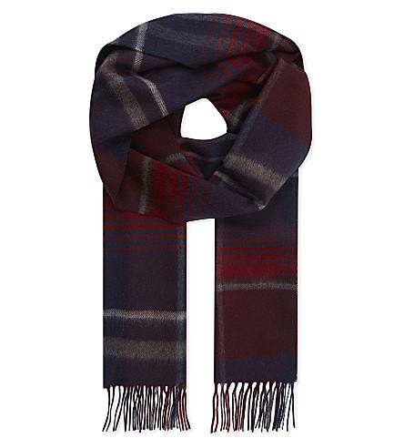 JOHNSTONS Check print cashmere scarf (Merlot+check