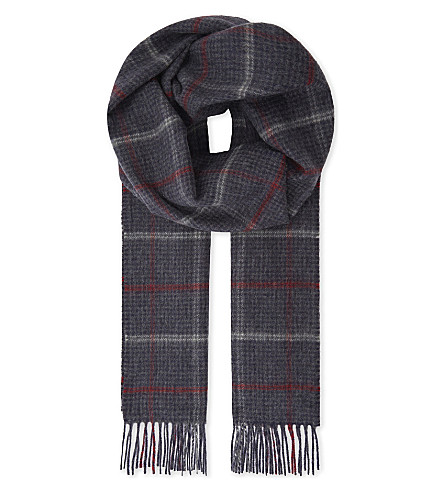 JOHNSTONS Check print cashmere scarf (Navy windowpane