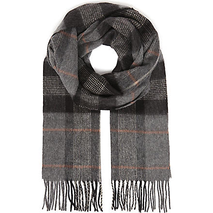 JOHNSTONS Centred check scarf (Charcoal