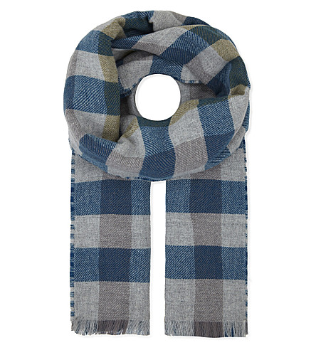JOHNSTONS Oversized reversible merino-wool-cashmere scarf (Black+check