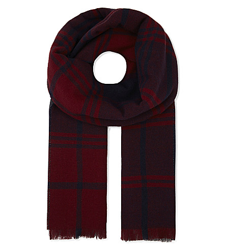 JOHNSTONS Oversized reversible merino-wool-cashmere scarf (Oversize check