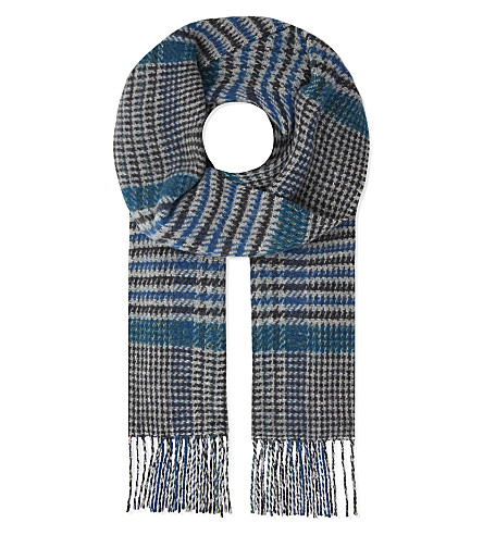 JOHNSTONS Vintage check cashmere and wool scarf (Blue
