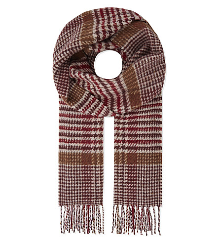 JOHNSTONS Vintage check cashmere and wool scarf (Red