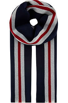 JOHNSTONS Striped merino wool scarf