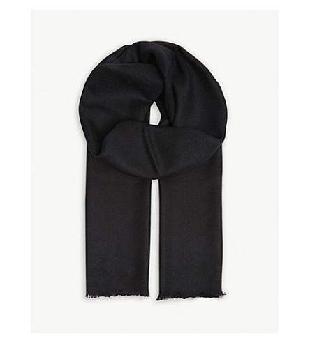 JOHNSTONS Tartan extra-fine merino-wool scarf (Black
