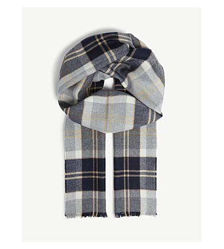 JOHNSTONS Tartan extra-fine merino-wool scarf (Silver bannockbane