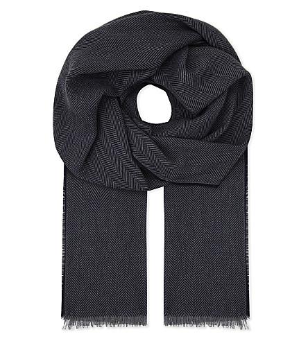 JOHNSTONS Fine herringbone merino wool scarf (Grey navy