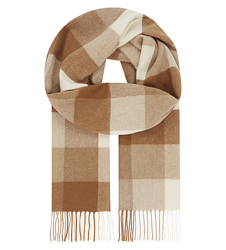 JOHNSTONS Vicuña and cashmere-blend checked scarf (Vicuna block check