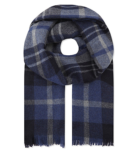 JOSHUA ELLIS条纹羊绒围巾 (蓝色 + 灰色