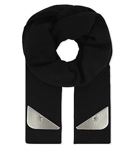 FENDI Metallic eyes fleece wool scarf (Silver+blk