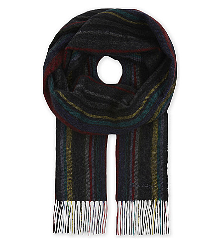 PAUL SMITH ACCESSORIES College striped wool scarf (Black