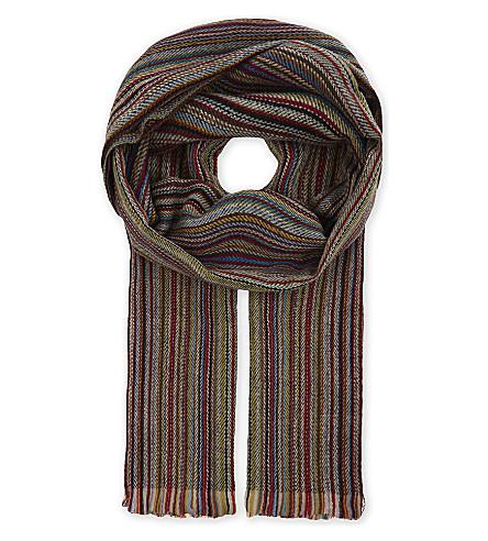PAUL SMITH ACCESSORIES Multi-stripe cashmere herringbone scarf (Multi