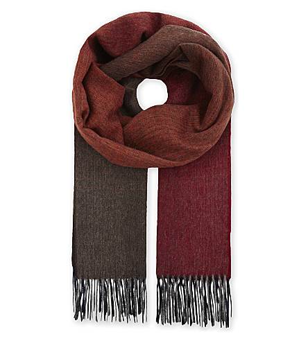PAUL SMITH ACCESSORIES Ombré lambswool scarf (Red+orange