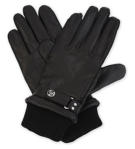 PAUL SMITH ACCESSORIES Ribbed cuff leather gloves (Black