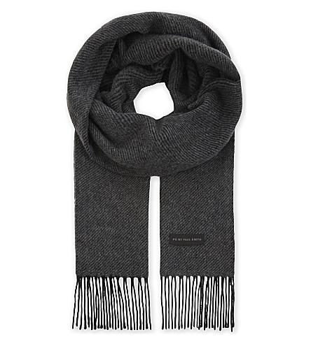 PAUL SMITH ACCESSORIES Twill cashmere scarf (Grey