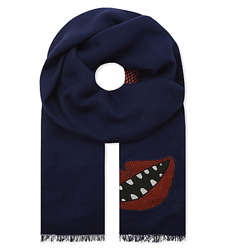 PAUL SMITH ACCESSORIES 1974 embroidered patch wool scarf (Navy